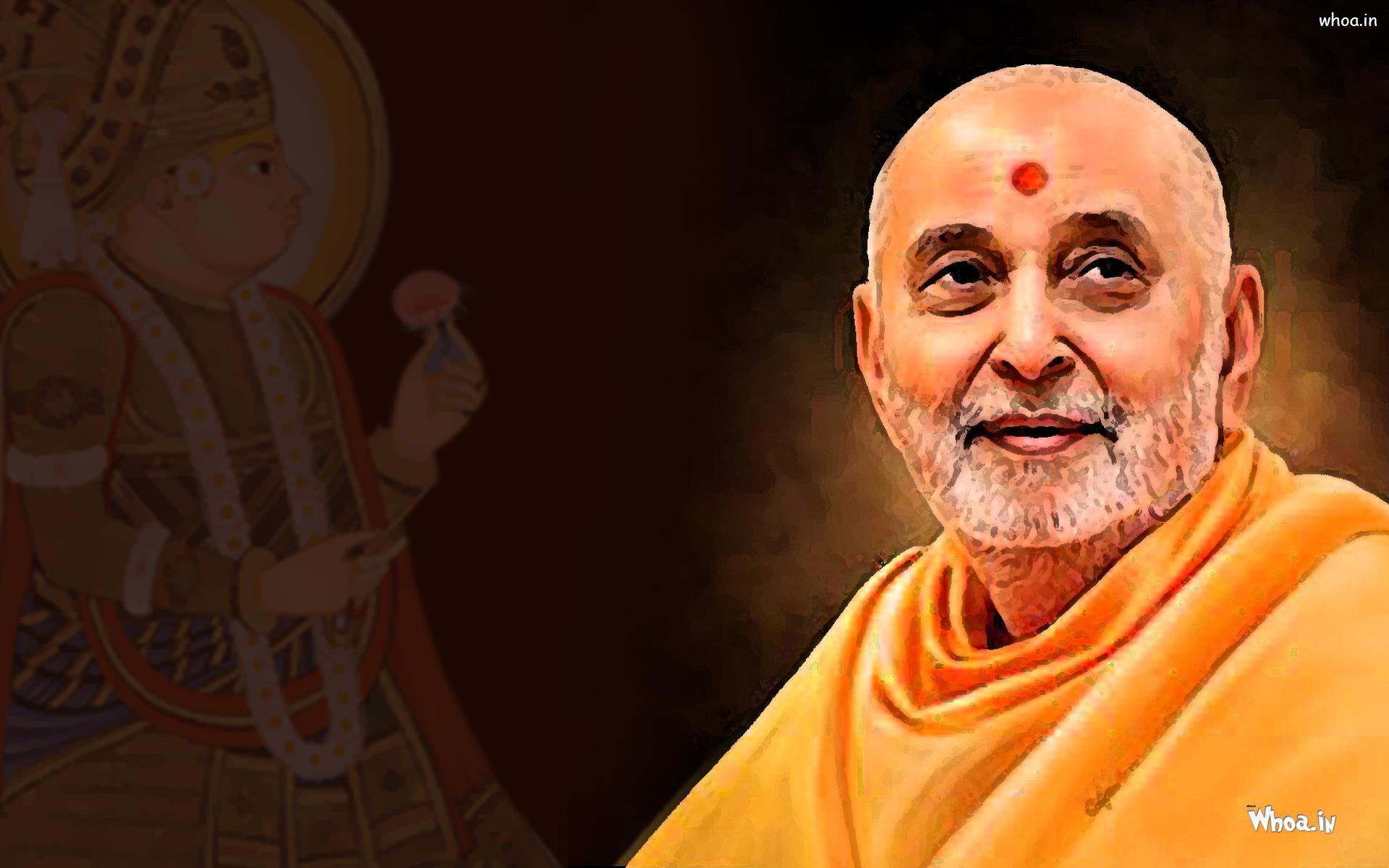 Pramukh-Swami-with-Lord-Swaminarayan-Wallpaper